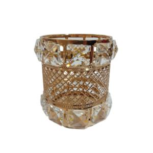 Porta Pincel Redondo – Dourado – Metal E Acrílico