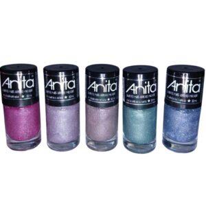 Coleção Esmaltes – QUANTO MAIS BRILHO MELHOR – 5 Cores Glitter – Anita