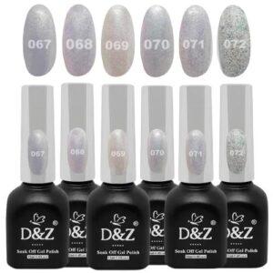 Coleção De Esmalte Em Gel – White Shine – 6 Cores – D&Z
