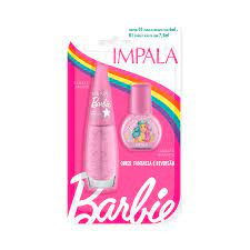 02 Esmaltes Glitter – Brilho Encantado – 7,5ml E 6 Ml – Impala / Barbie